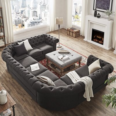 Gowans Sectional Upholstery: Dark Gray