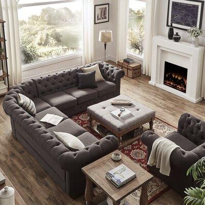 Gowans Sectional Upholstery: Linen - Dark Gray