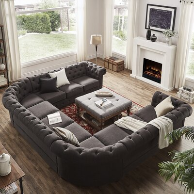 Gowans Tufted Sectional Upholstery: Dark Gray