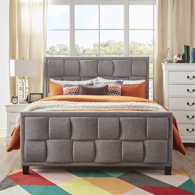 Gina Linen Upholstered Panel Bed Size: King, Color: Gray