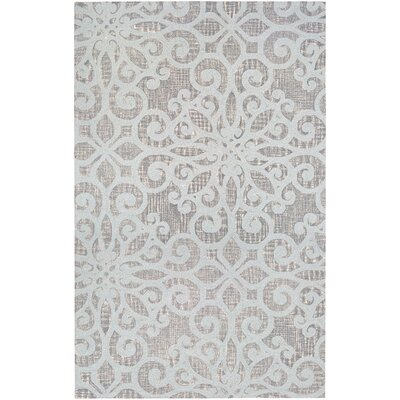 Lissette Sky Hand-Hooked Blue/Ivory Area Rug Rug Size: Rectangle 34 x 54