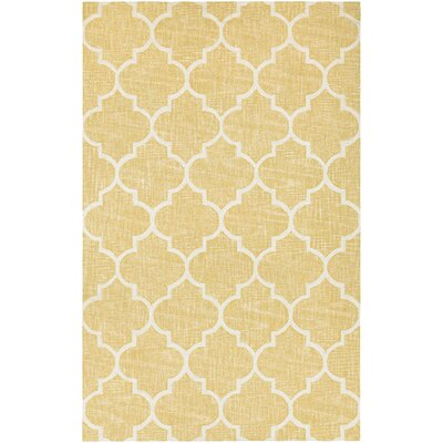 Lissette Hand-Woven Gold/Ivory Area Rug Rug Size: Rectangle 95 x 134