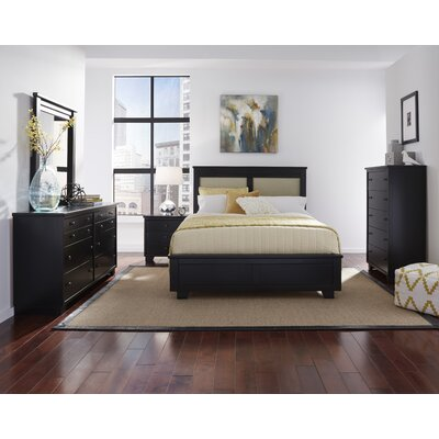 Loughran Upholstered Panel Headboard Size: King, Color: Black