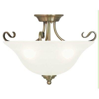 Lewisboro 13 3-Light Semi Flush Mount Finish: Antique Brass