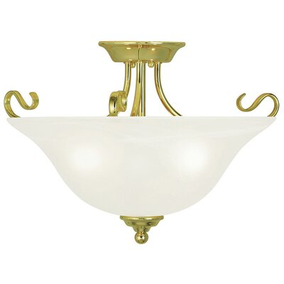 Lewisboro 13 3-Light Semi Flush Mount Finish: Polished Brass