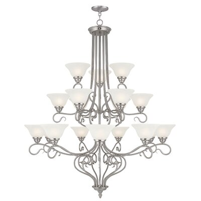 Lewisboro 18-Light Shaded Chandelier Finish: Brushed Nickel
