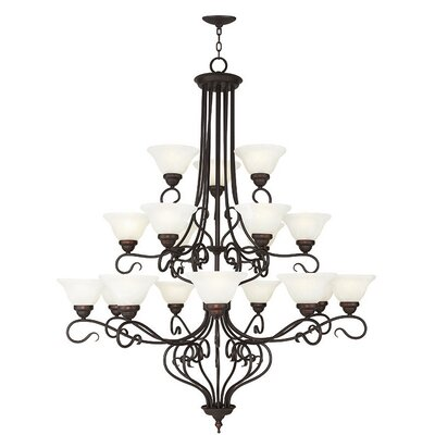 Lewisboro 18-Light Shaded Chandelier Finish: Bronze