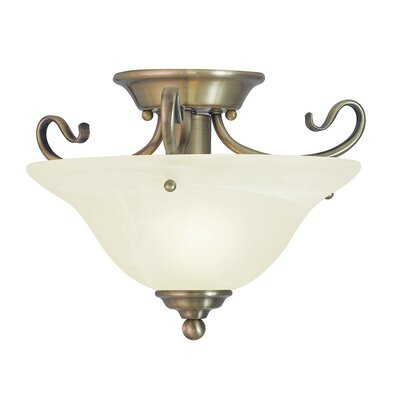 Lewisboro Semi Flush Mount Finish: Antique Brass