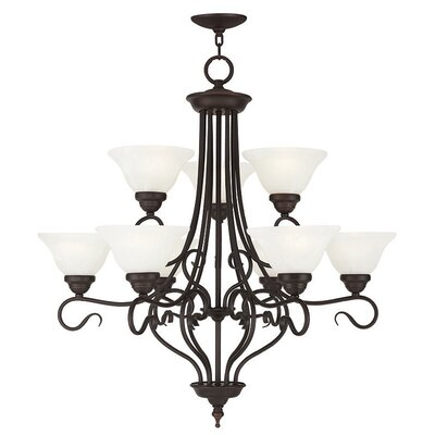 Lewisboro 9-Light Shaded Chandelier Finish: Bronze