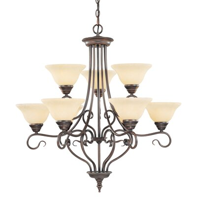 Lewisboro 9-Light Shaded Chandelier Finish: Imperial Bronze