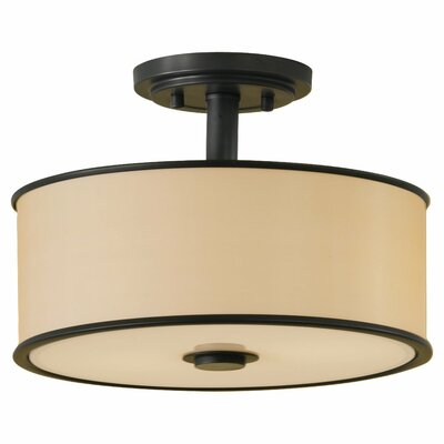 Millerton 2-Light Semi Flush Mount Finish: Dark Bronze