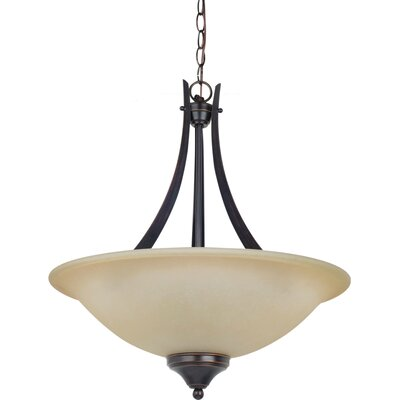 Sparland 3-Light Up Light Pendant Finish: Burnt Sienna with Amber Scavo Glass, Bulb Type: 100W Line Medium