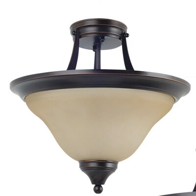 Sparland 2-Light Semi-Flush Mount Finish: Burnt Sienna with Amber Scavo Glass, Bulb Type: 100W Line Medium