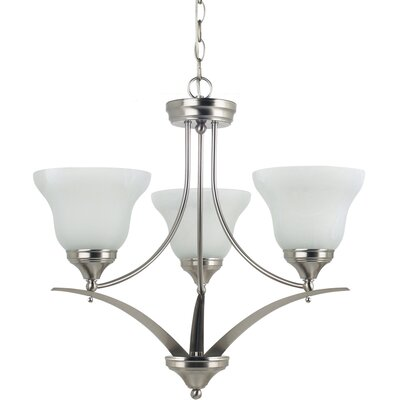 Sparland 3-Light Shaded Chandelier Finish: Brushed Nickel with White Alabaster Glass, Bulb Type: 100W Line Medium