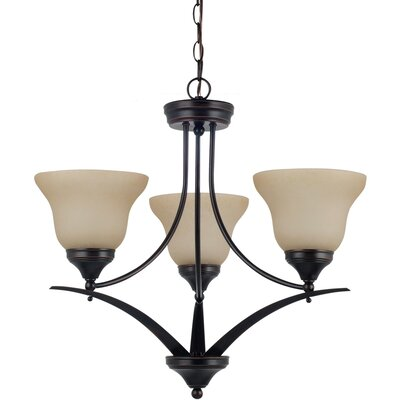 Sparland 3-Light Shaded Chandelier Finish: Burnt Sienna with Amber Scavo Glass, Bulb Type: 100W Line Medium