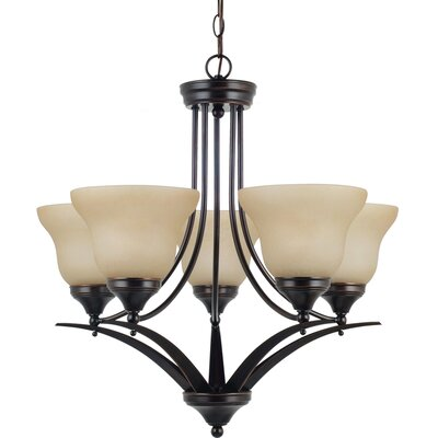 Woodbrige 5-Light Shaded Chandelier Finish: Burnt Sienna with Amber Scavo Glass, Bulb Type: 100W Line Medium