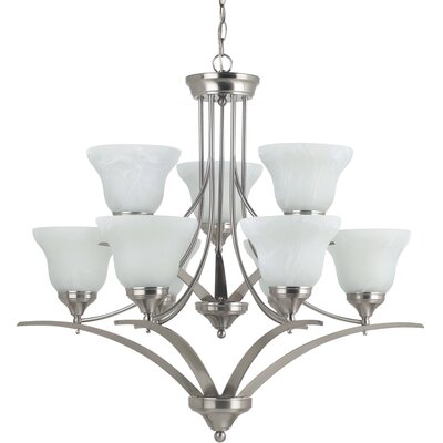 Woodbrige 9-Light Shaded Chandelier Finish: Brushed Nickel with White Alabaster Glass, Bulb Type: 100W Line Medium