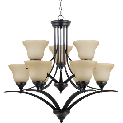 Sparland 9-Light Shaded Chandelier Finish: Burnt Sienna with Amber Scavo Glass, Bulb Type: 100W Line Medium