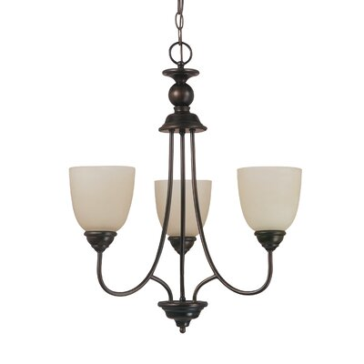 Weatherly 3-Light Mini Chandelier Finish: Burnt Sienna, Shade Color: Cafe Tint