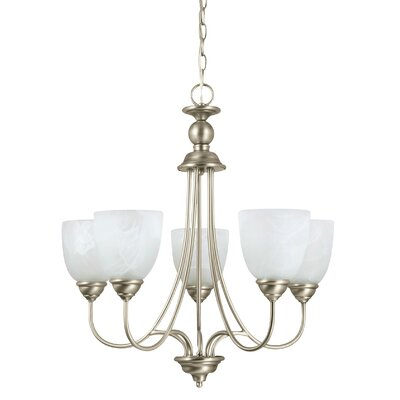 Weatherly 5-Light Shaded Chandelier Finish: Antique Brushed Nickel, Shade Color: Etched White Alabaster