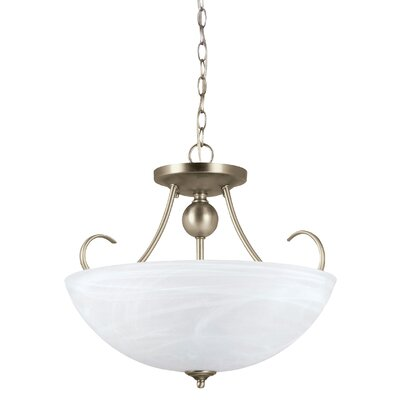 Weatherly 3-Light Bowl Pendant Finish: Antique Brushed Nickel, Shade Color: Etched White Alabaster