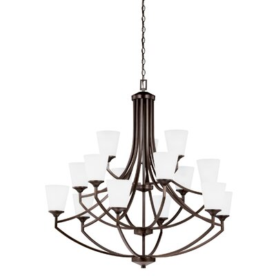 Elkton 15-Light Shaded Chandelier Finish: Burnt Sienna