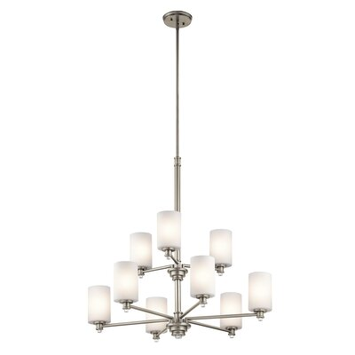 Bourdeau 9-Light Shaded Chandelier Finish: Brushed Nickel