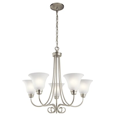 Bourneville 5-Light Shaded Chandelier Finish: Brushed Nickel