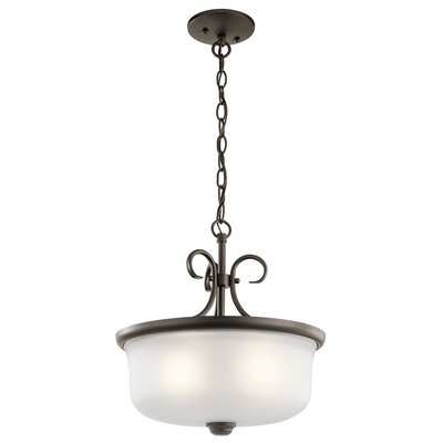 Bourneville 2-Light Pendant /Semi Flush Finish: Old Bronze