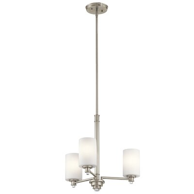 Bourdeau 3-Light Shaded Chandelier Finish: Brushed Nickel
