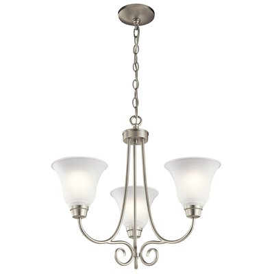 Bourneville 3-Light Shaded Chandelier Finish: Brushed Nickel