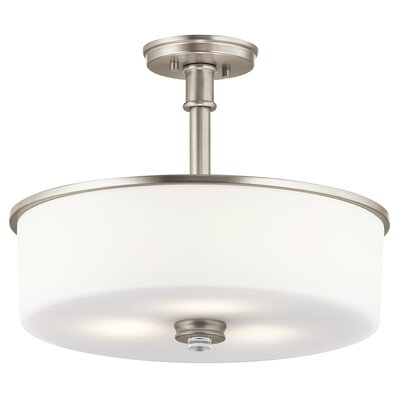 Bourdeau 3-Light Semi Flush Mount Finish: Brushed Nickel
