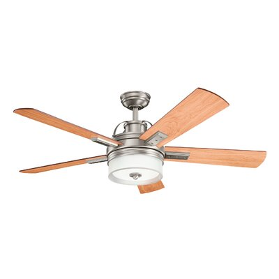 52 Boswell 5 Blade LED Ceiling Fan with Remote Finish: Antique Pewter with Light Cherry Blades