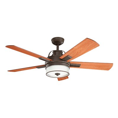 52 Boswell 5 Blade LED Ceiling Fan with Remote Finish: Olde Bronze with Walnut Blades