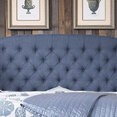 Leatham Upholstered Wingback Headboard Size: Twin, Upholstery: Classic Navy