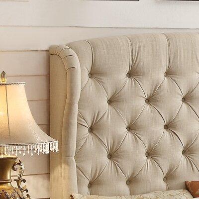 Halsey Upholstered Wingback Headboard Upholstery: Beige, Size: Full