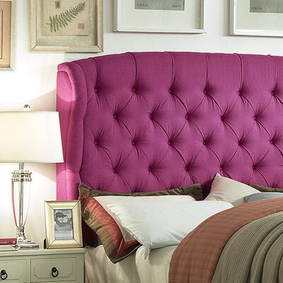 Halsey Upholstered Wingback Headboard Upholstery: Medium Violet Red, Size: Queen