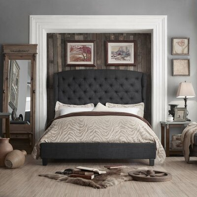 Leatham Queen Upholstered Wood Platform Bed Color: Charcoal