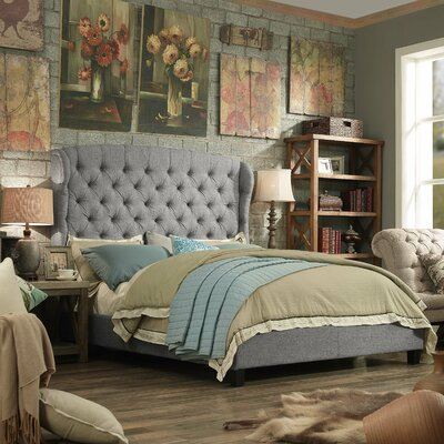 Leatham Queen Upholstered Wood Platform Bed Color: Grey