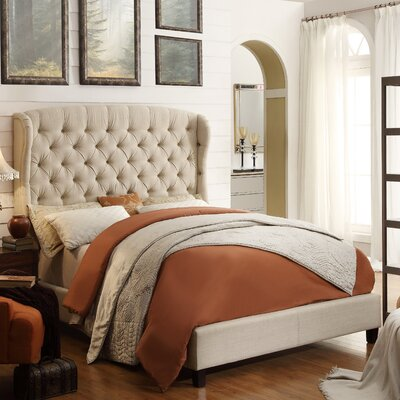 Leatham Queen Upholstered Wood Platform Bed Color: Beige