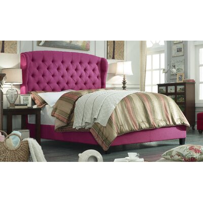 Leatham Queen Upholstered Wood Platform Bed Color: Magenta Pink