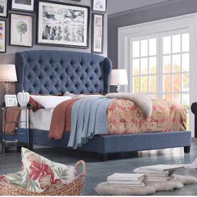 Leatham Queen Upholstered Wood Platform Bed Color: Navy Blue