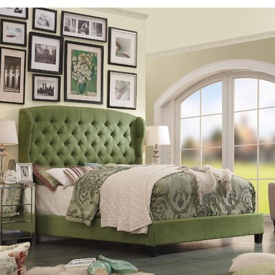 Leatham Queen Upholstered Wood Platform Bed Color: Olive Green