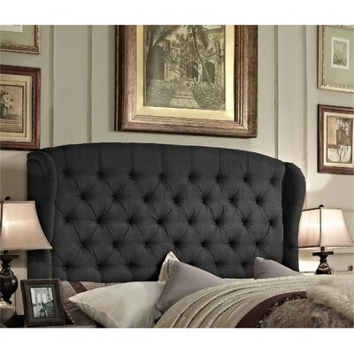 Halsey Upholstered Wingback Headboard Upholstery: Charcoal, Size: Queen
