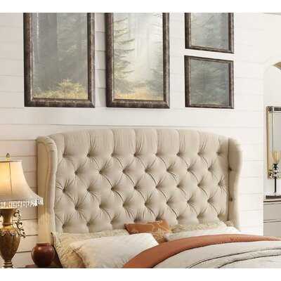 Leatham Upholstered Wingback Headboard Size: King, Upholstery: Beige