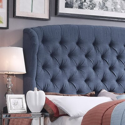 Halsey Upholstered Wingback Headboard Upholstery: Classic Navy, Size: Queen
