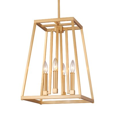 Hanley 4-Light Foyer Pendant Finish: Gilded Satin Brass, Size: 18 H x 13 W x 13 D