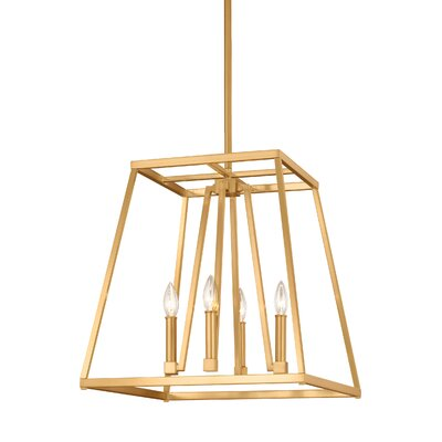 Hanley 4-Light Foyer Pendant Finish: Gilded Satin Brass, Size: 19 H x 18 W x 18 D