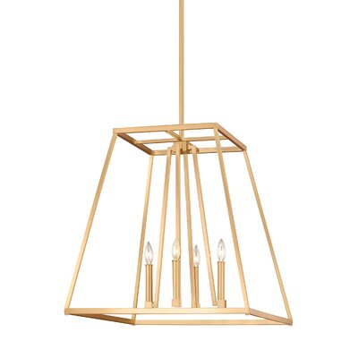 Hanley 4-Light Foyer Pendant Finish: Gilded Satin Brass, Size: 24 H x 23 W x 23 D