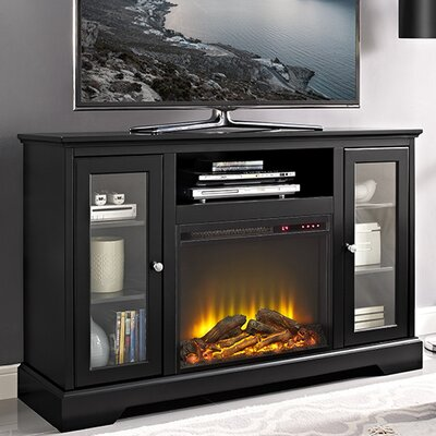 Heywood 52 TV Stand with Fireplace Color: Black